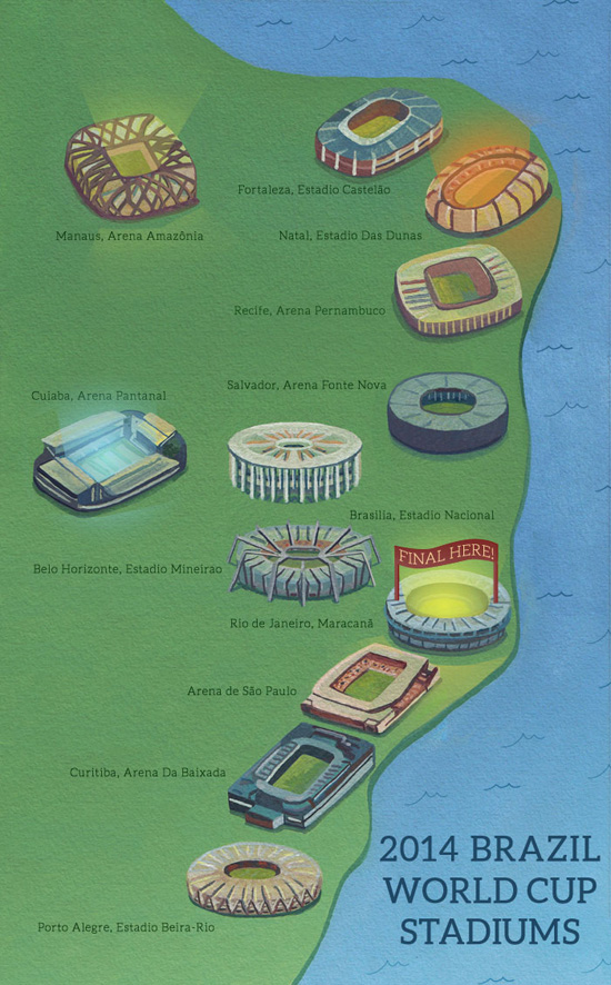 All the stadiums for the FIFA worlc cup 2014!
